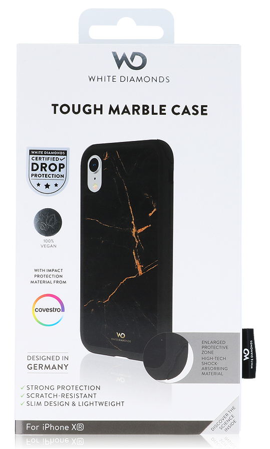 White Diamonds Tough Marble Gold Case for iPhone XR
