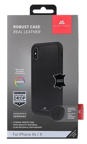 Black Rock Robust Case Real Leather Black for iPhone XR